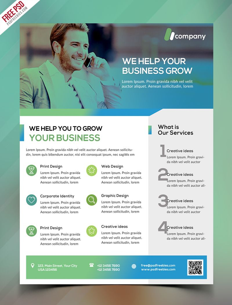 Clean Business Flyer Template Free Psd | Psd Print Template - Business Flyer Templates Free Printable