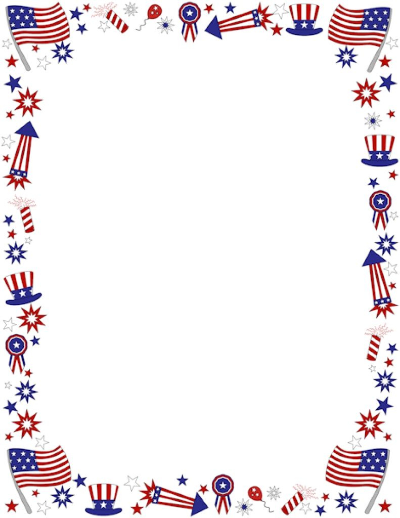 Clipart+4Th+Of+July+Borders | Coloring Pages | Pinterest | Page - Free Printable 4Th Of July Stationery