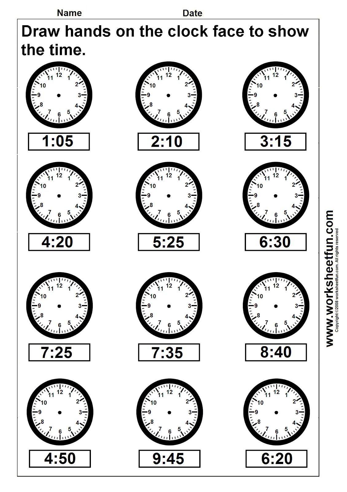 Clock Telling Time Worksheet Printable | Worksheetfun - Free - Free Printable Time Worksheets For Kindergarten