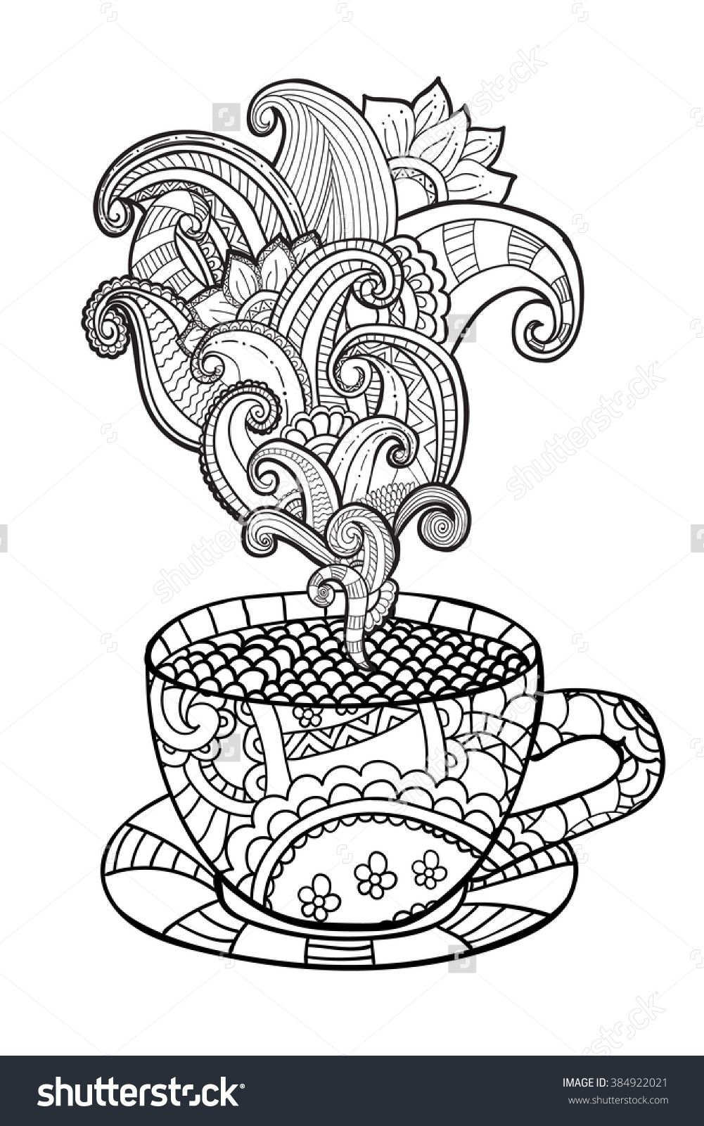 Coffee Or Tea Cup Zentangle Style Coloring Page 384922021 - Free Printable Tea Cup Coloring Pages