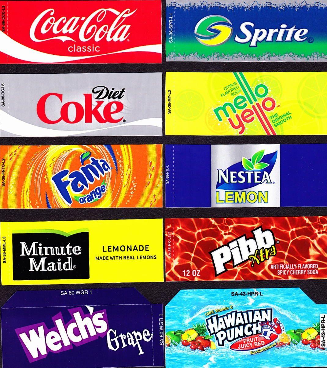 Coke Machine Labels   10 Coke Mixed Set Small Flavor Labels Soda - Free Printable Vending Machine Labels