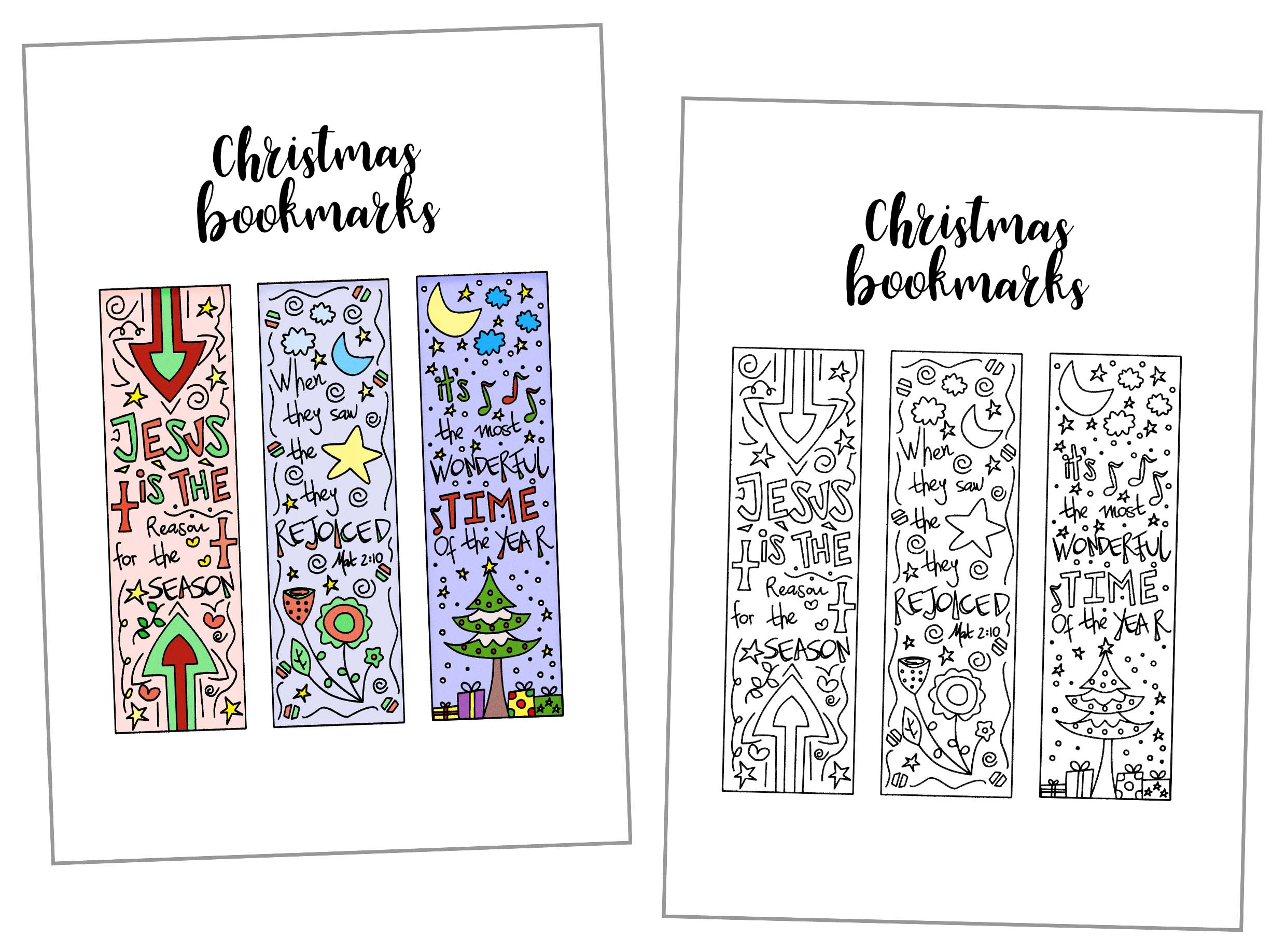 Coloring Christmas Bookmarks Free Printable ~ Daydream Into Reality - Free Printable Bookmarks For Christmas