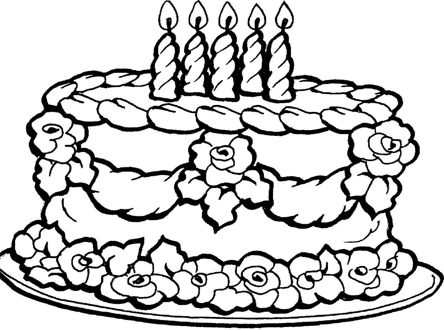 Coloring Pages Of Birthday Cakes Dragon With Happy Cake Page Free - Free Printable Pictures Of Birthday Cakes