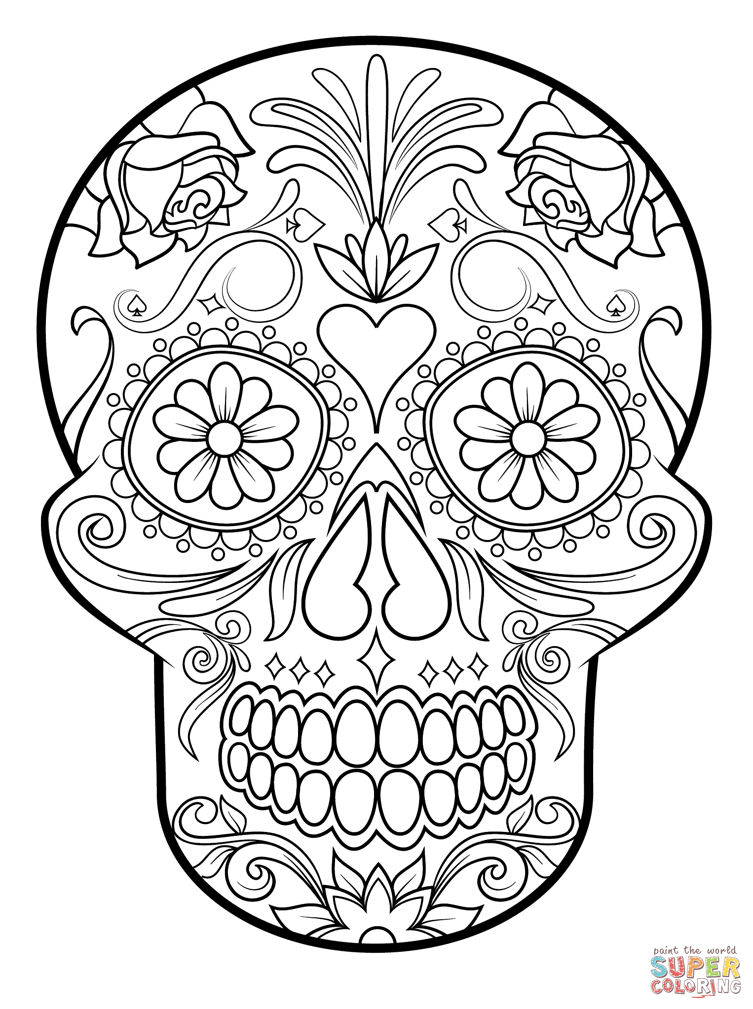 Coloring Pages : Sugar Skull Coloring Page Free Printable Pages For - Free Printable Sugar Skull Coloring Pages