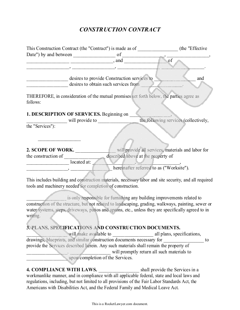 Construction Contract Template - Construction Agreement Form | Books - Free Printable Handyman Contracts