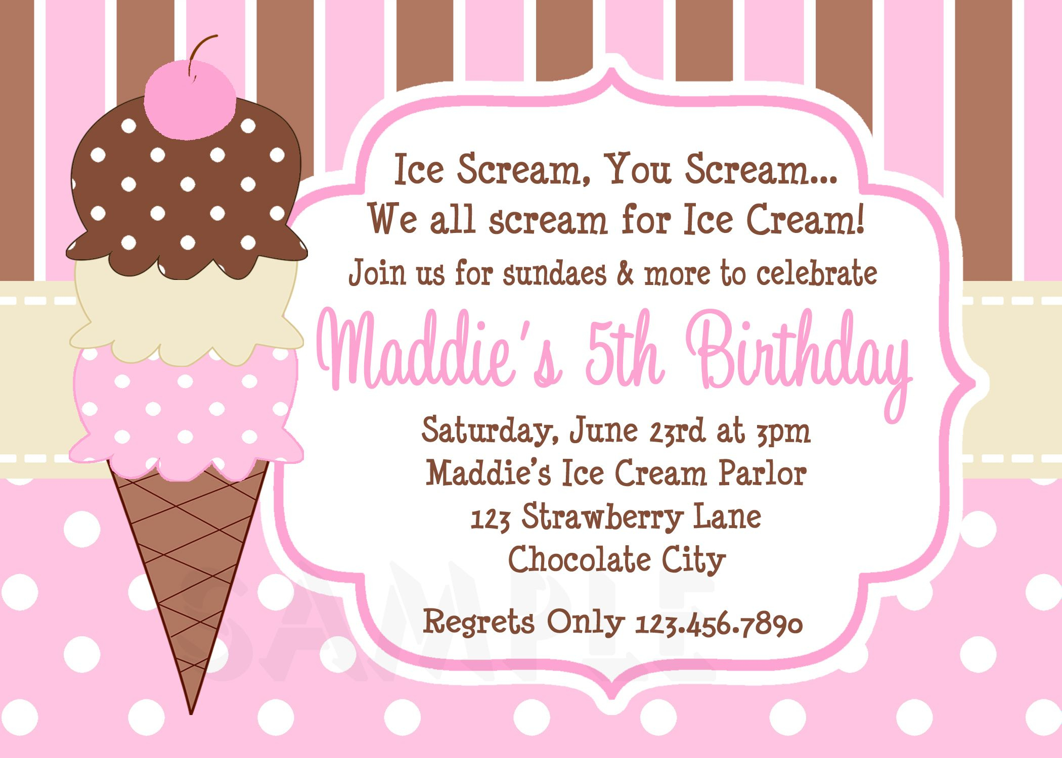 Cool Free Template Ice Cream Birthday Party Invitations | Bagvania - Ice Cream Party Invitations Printable Free