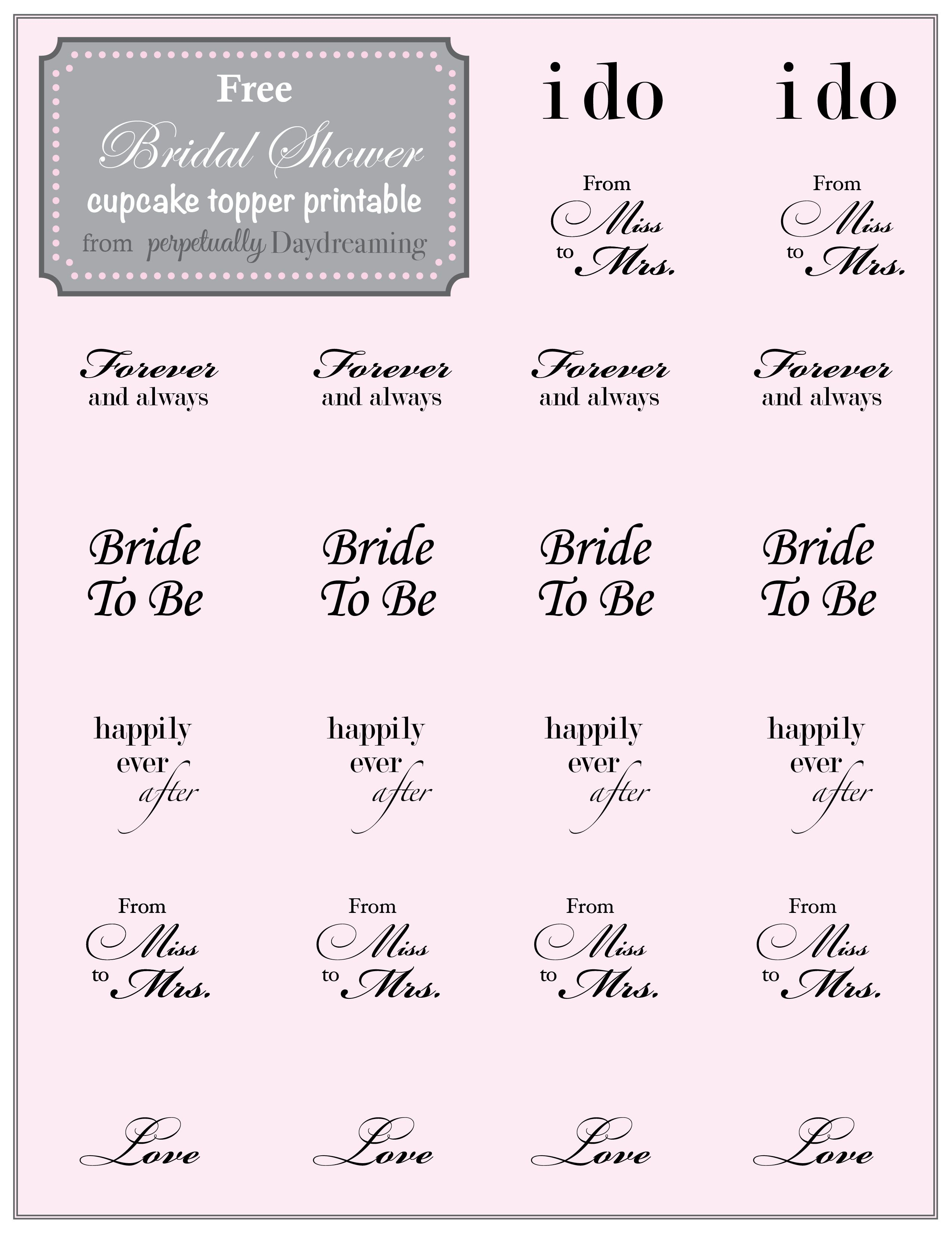 Country Bridal Shower Cupcake Topper {Free} Printable | Perpetually - Free Printable Cupcake Toppers Bridal Shower