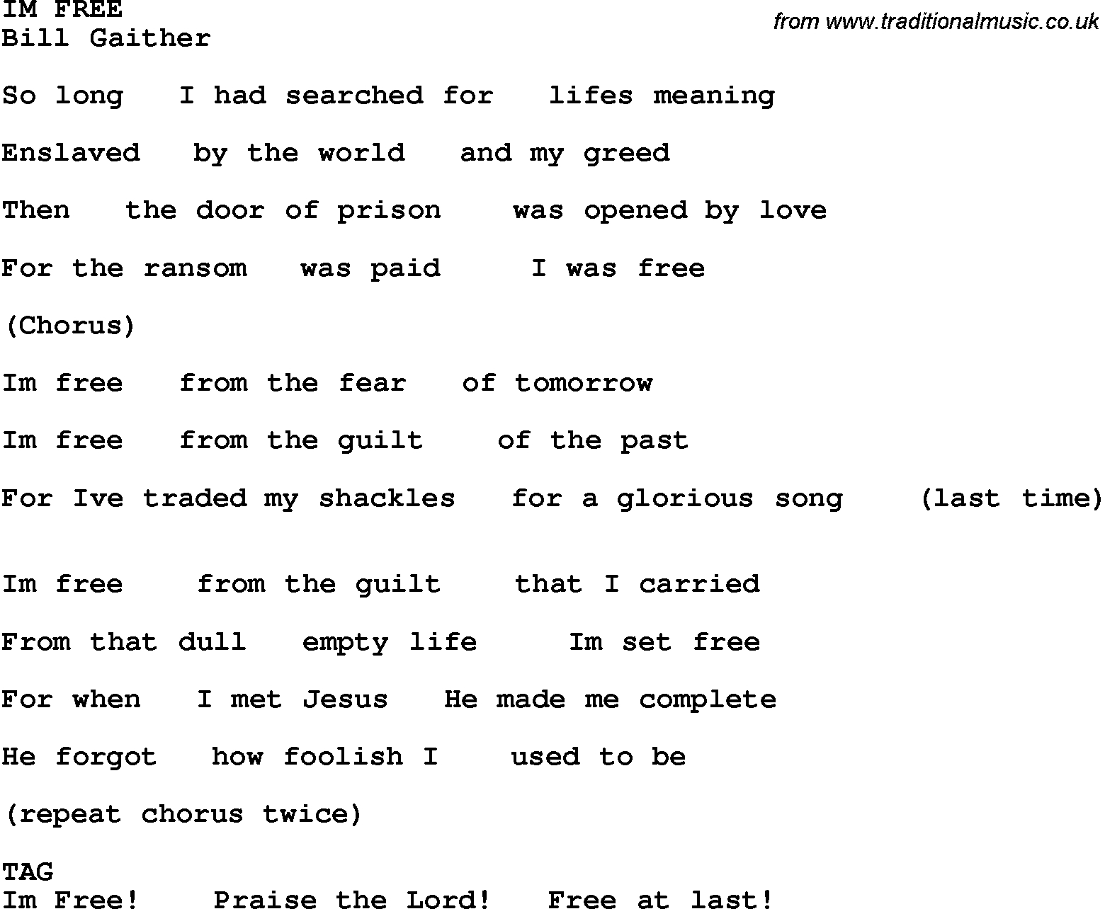 Country, Southern And Bluegrass Gospel Song Im Free Lyrics - Free Printable Gospel Music Lyrics