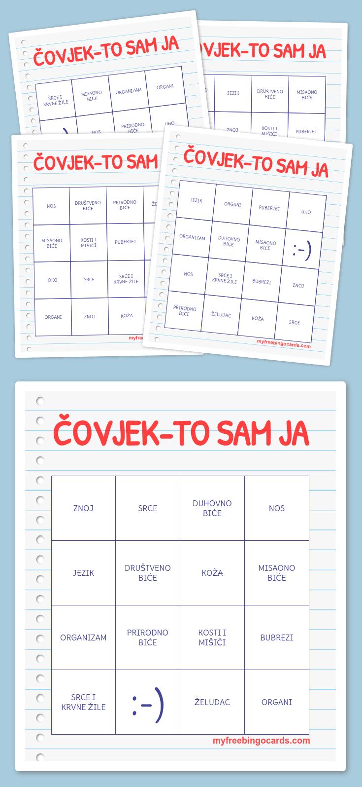 Čovjek-To Sam Ja Bingo   Alati U Nastavi   Bingo, Bingo Cards, Math - Fraction Bingo Cards Printable Free