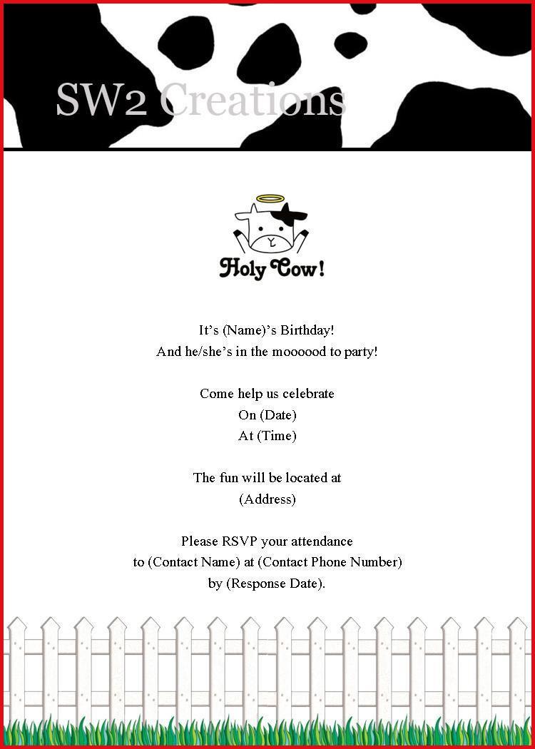Cow Birthday Party Invitations - Hashtag Bg - Free Printable Cow Birthday Invitations