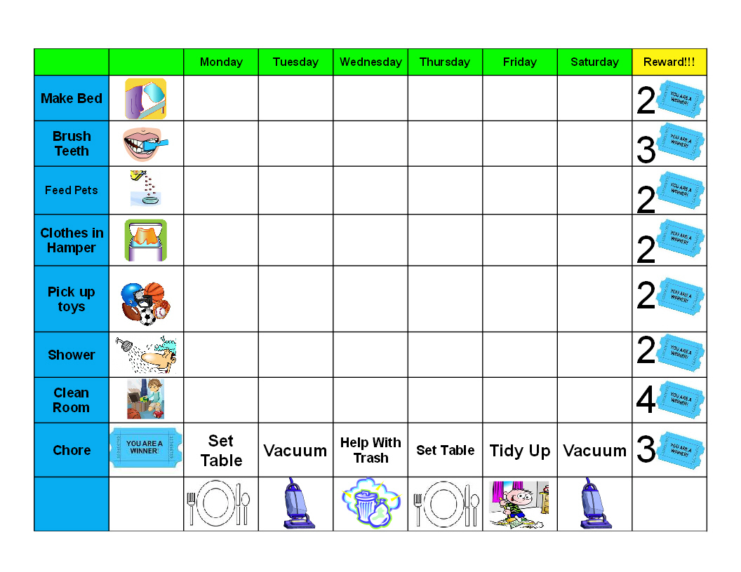 Creative Chore Chart Ideas For Kids — Stopqatarnow Design : Free - Free Printable Chore Chart Ideas