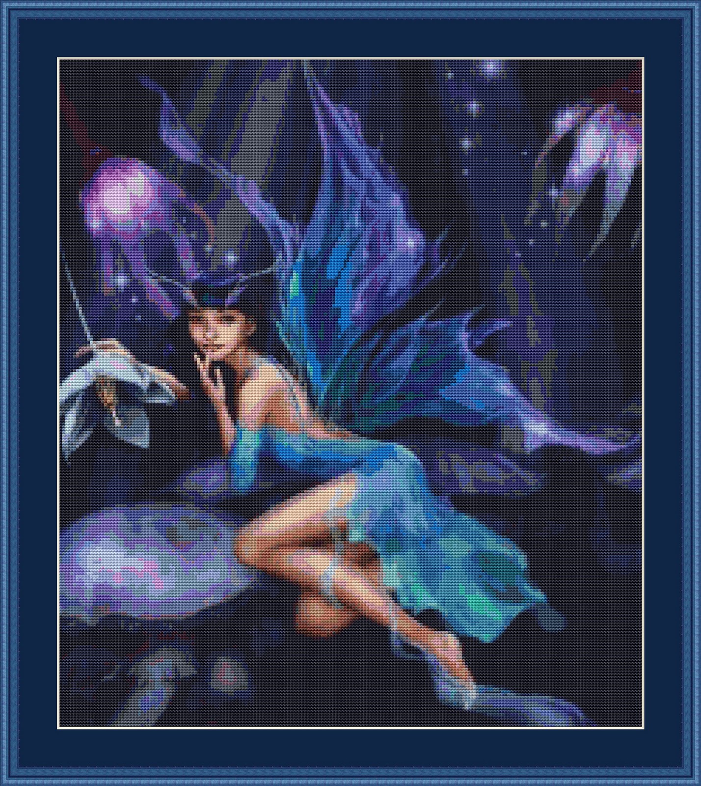 Cross Stitch Works: Night Forest Fairy 101111239 Free Cross Stitch - Free Printable Cross Stitch Patterns Angels