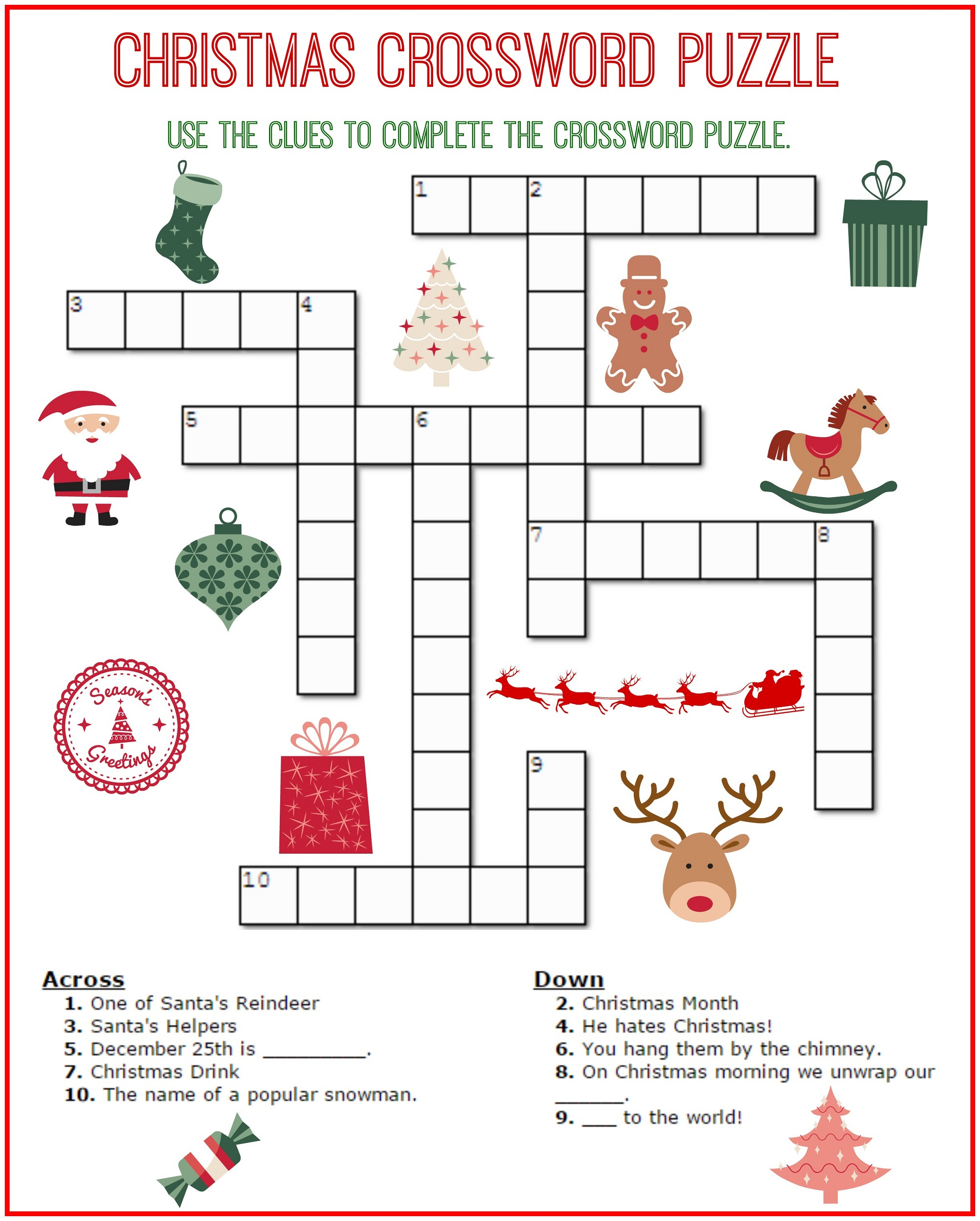 Crossword Puzzle Kids Printable 2017 | Kiddo Shelter - Free Easy Printable Crossword Puzzles For Kids