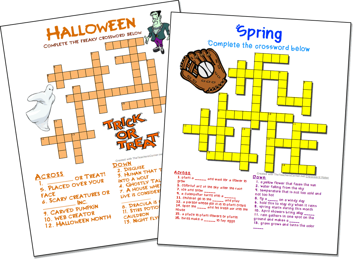 Crossword Puzzle Maker | World Famous From The Teacher's Corner - Free Make Your Own Crosswords Printable