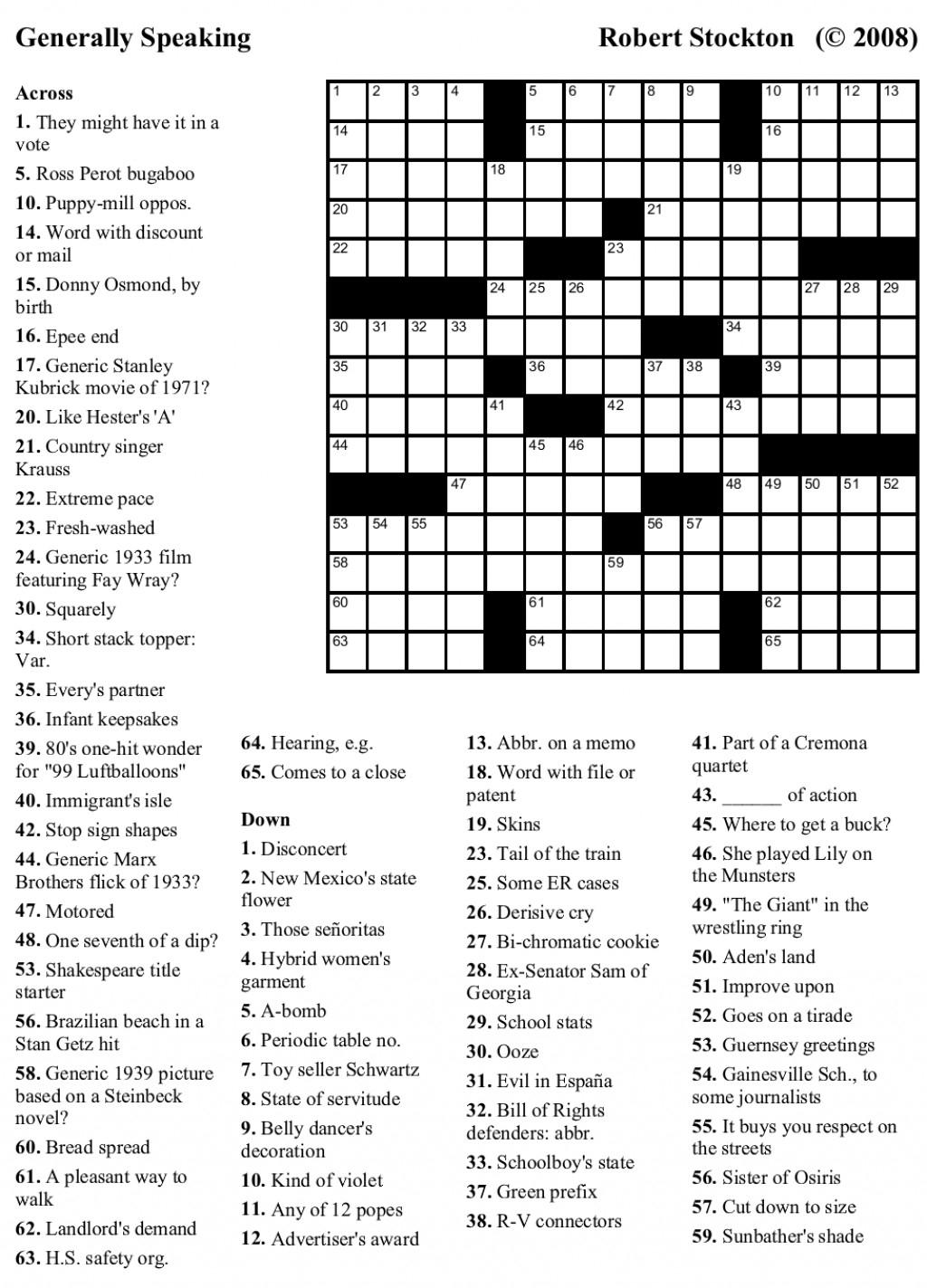 Crossword Puzzles Challenging Printable Crosswords Generallyspeaking - Free Printable Crossword Puzzles Medium Difficulty