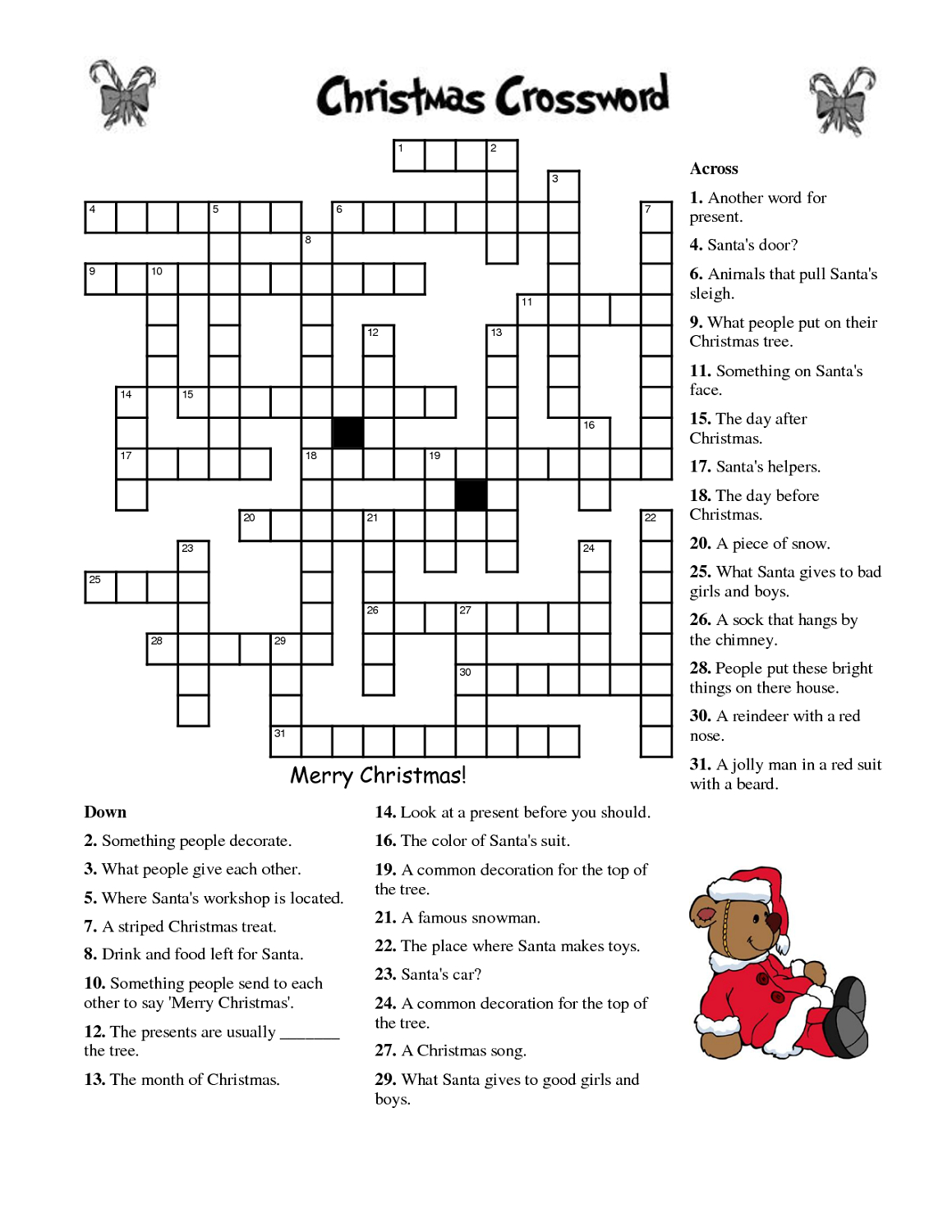 Crosswords For Kids Christmas | K5 Worksheets | Christmas Activity - Free Printable Christmas Puzzles And Games