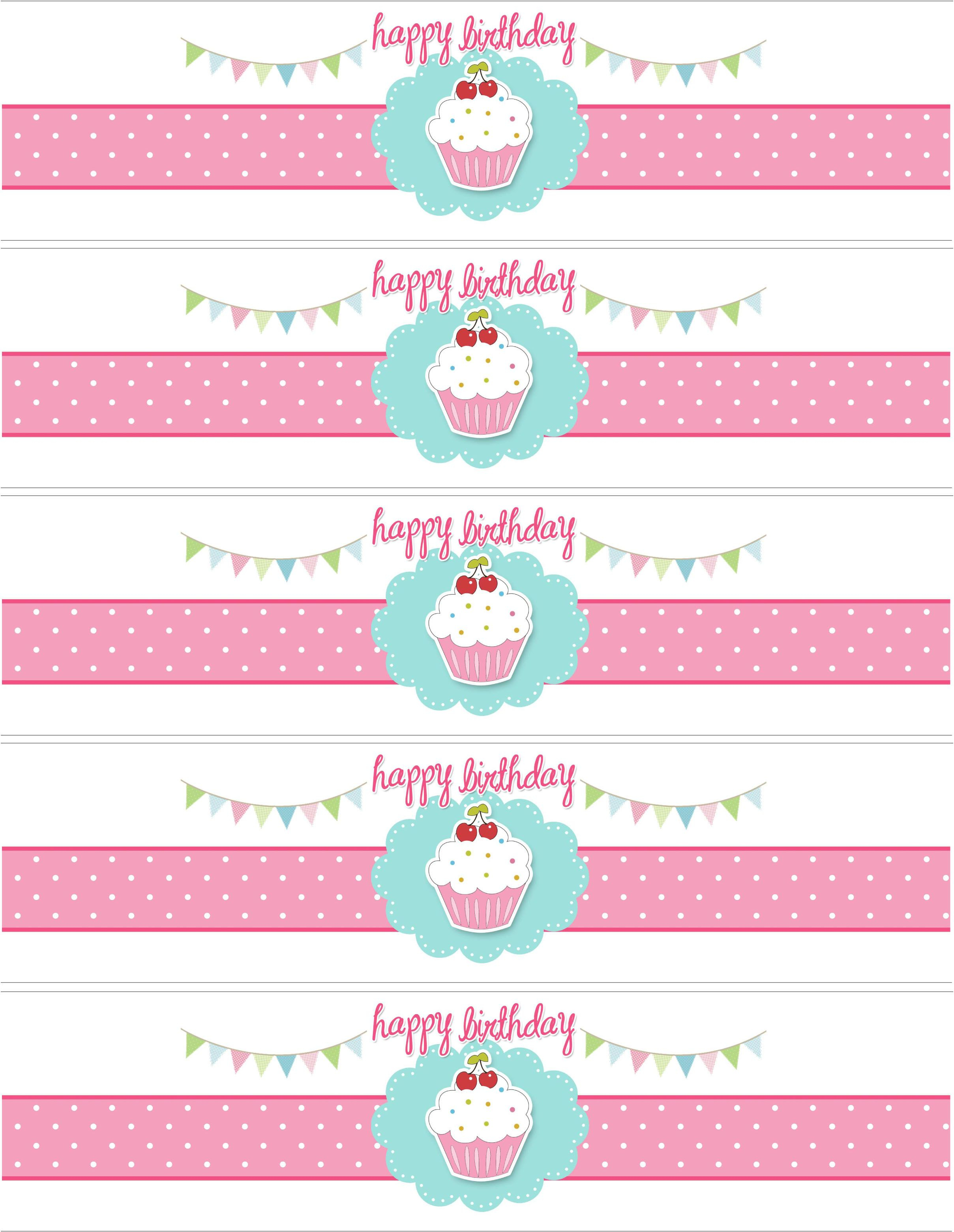 Cupcake Birthday Party With Free Printables | Diy Birthday Party - Free Printable Water Bottle Labels