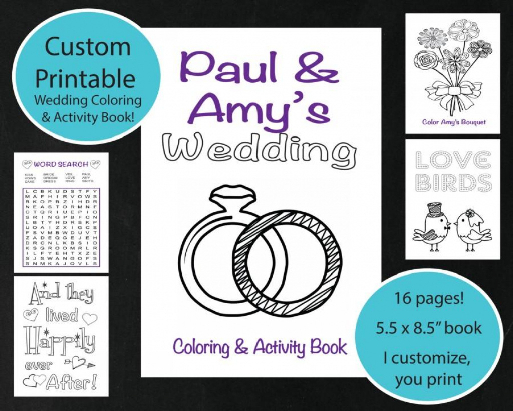 Custom Printable Wedding Coloring & Activity Book, Personalized In - Free Printable Personalized Children's Books
