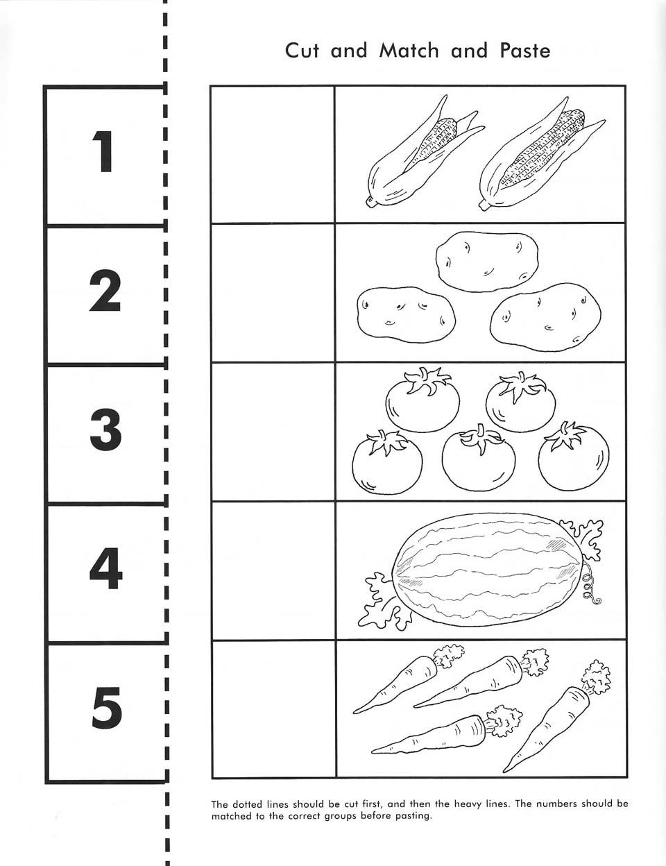 Cut, Count, Match And Paste / Free Printable   Pre-K Math - Free Printable Math Workbooks