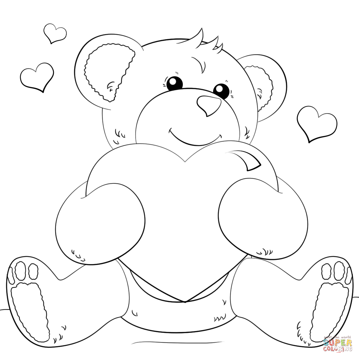Cute Bear With Heart Coloring Page | Free Printable Coloring Pages - Free Printable Hearts