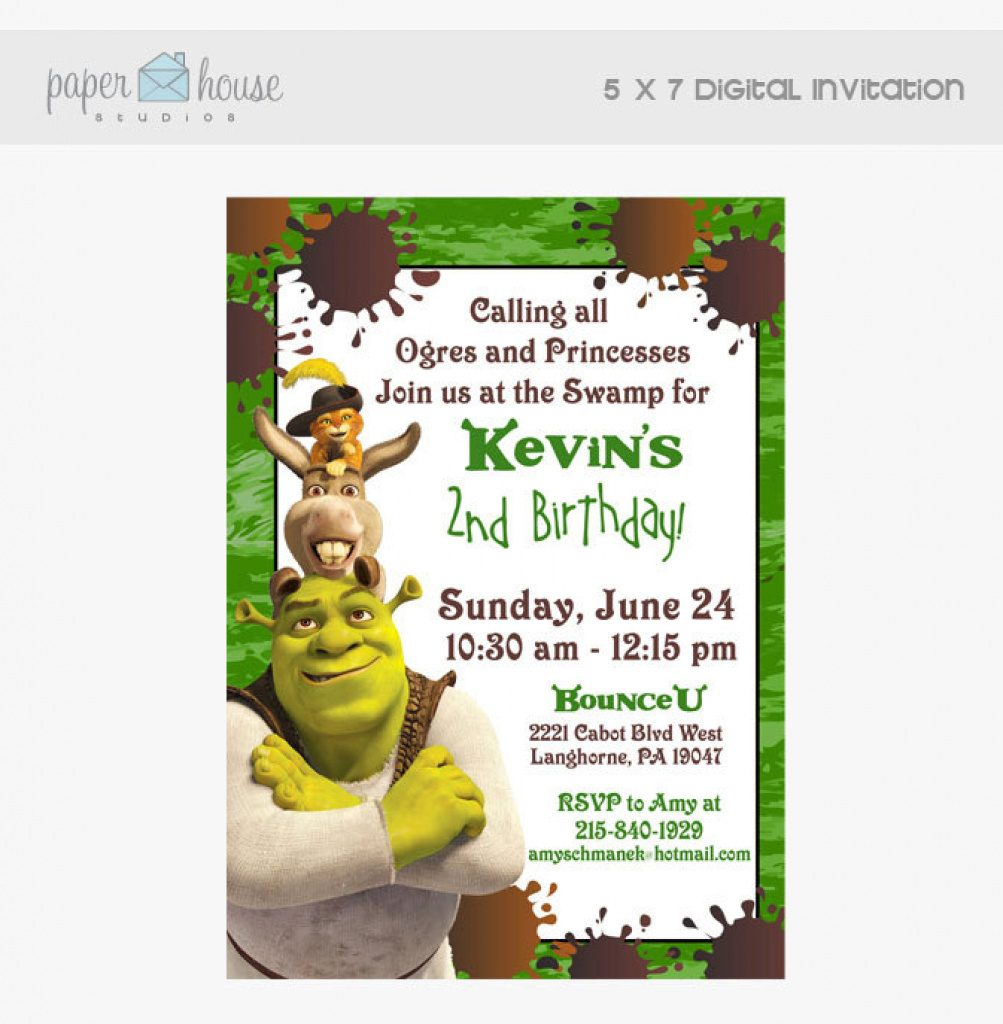 Cute Free Printable Shrek Birthday Invitations - Invitation Template - Free Printable Shrek Birthday Invitations