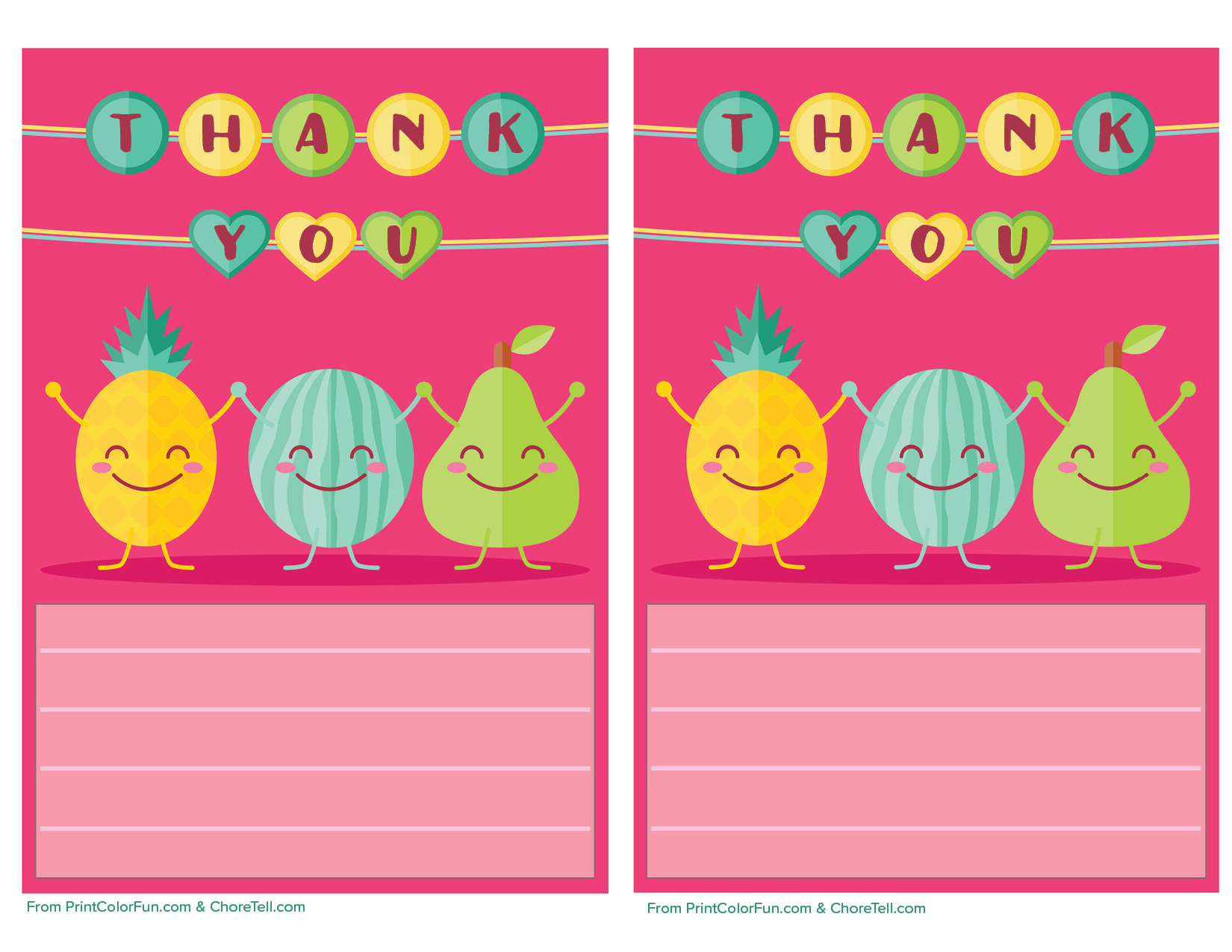 Cute Fruit Printable Thank You Note Paper For Kids - Free Printable - Free Printable Thank You Notes