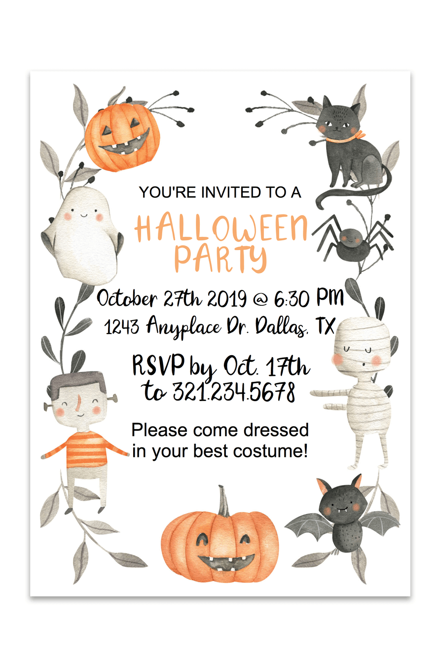 Cute Halloween Printable Invitation | Free Printables | Pinterest - Free Online Halloween Invitations Printable
