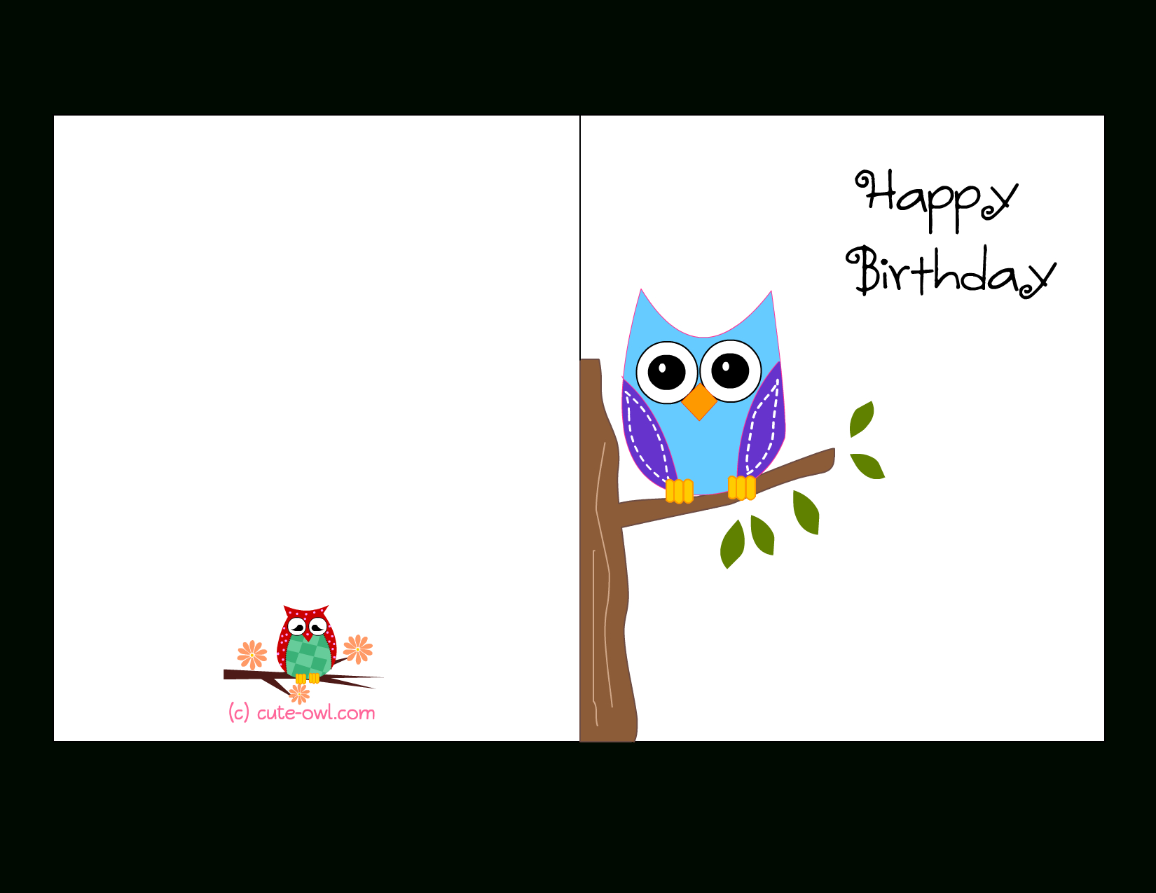 Cute Owl Sitting On A Branch Happy Birthday Card | Favorite - Free Printable Birthday Cards For Him