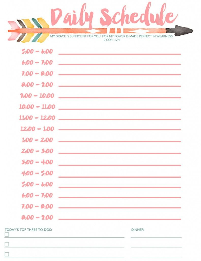 Daily Schedule Free Printable | Planners & Bullet Journals | Daily - Free Printable Daily Schedule