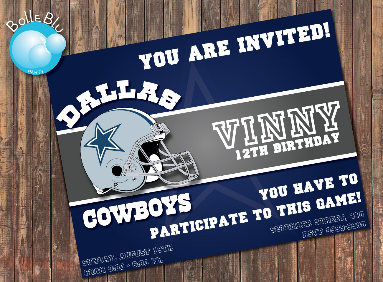 Dallas Cowboys Birthday Party Invitations - Free Printable Dallas Cowboys Birthday Invitations