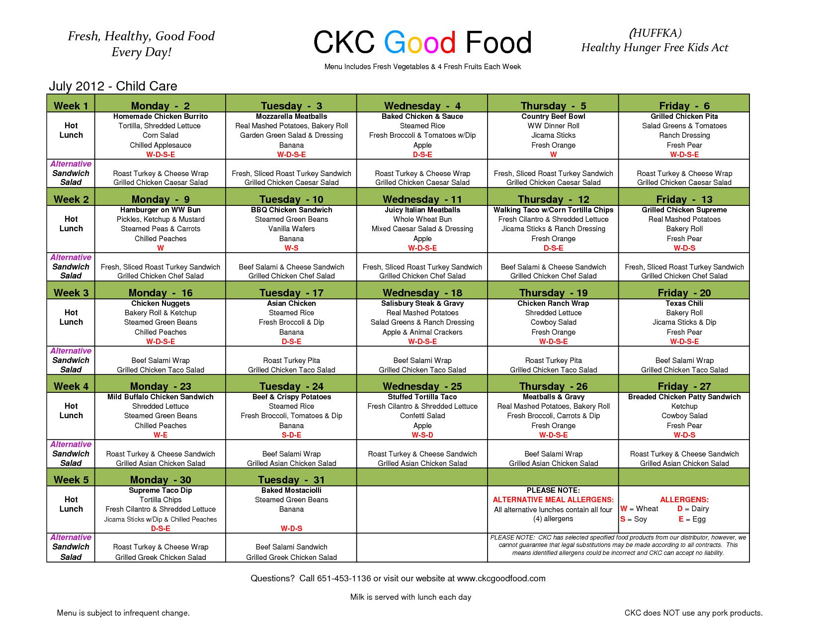 Day Care Menu - Bing Images | Menu Ideas | Lunch Menu, Kids Meals - Free Printable Daycare Menus