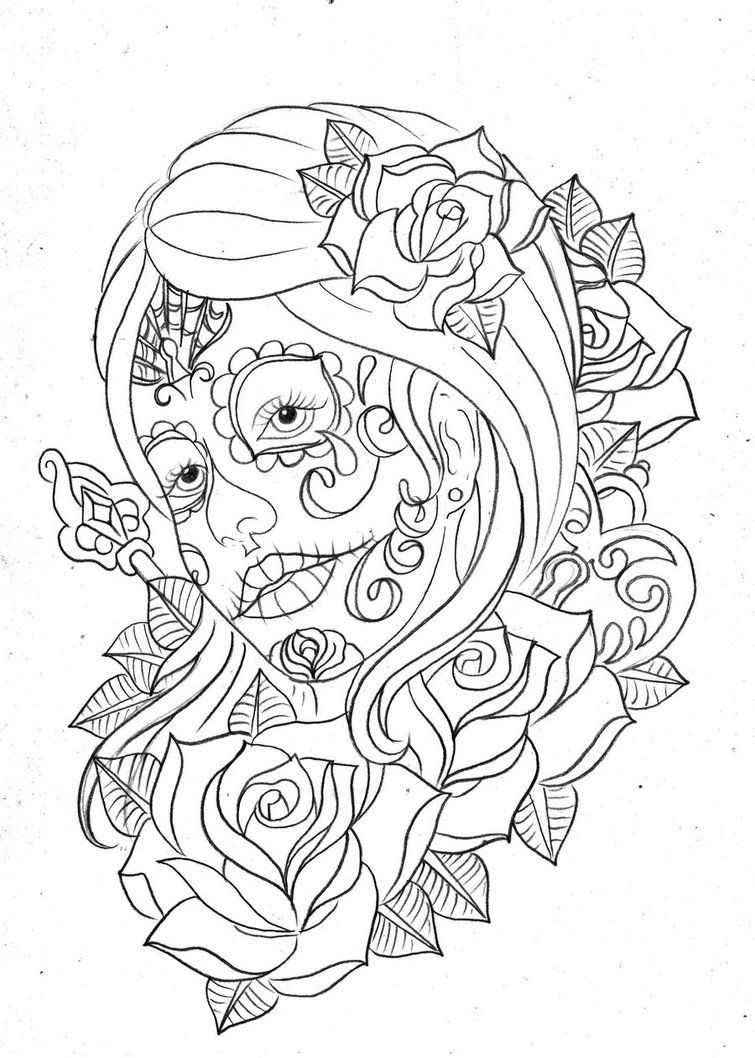 Day Of The Dead Coloring Pages Printable Free | Adult Coloring Pages - Free Printable Day Of The Dead Coloring Pages