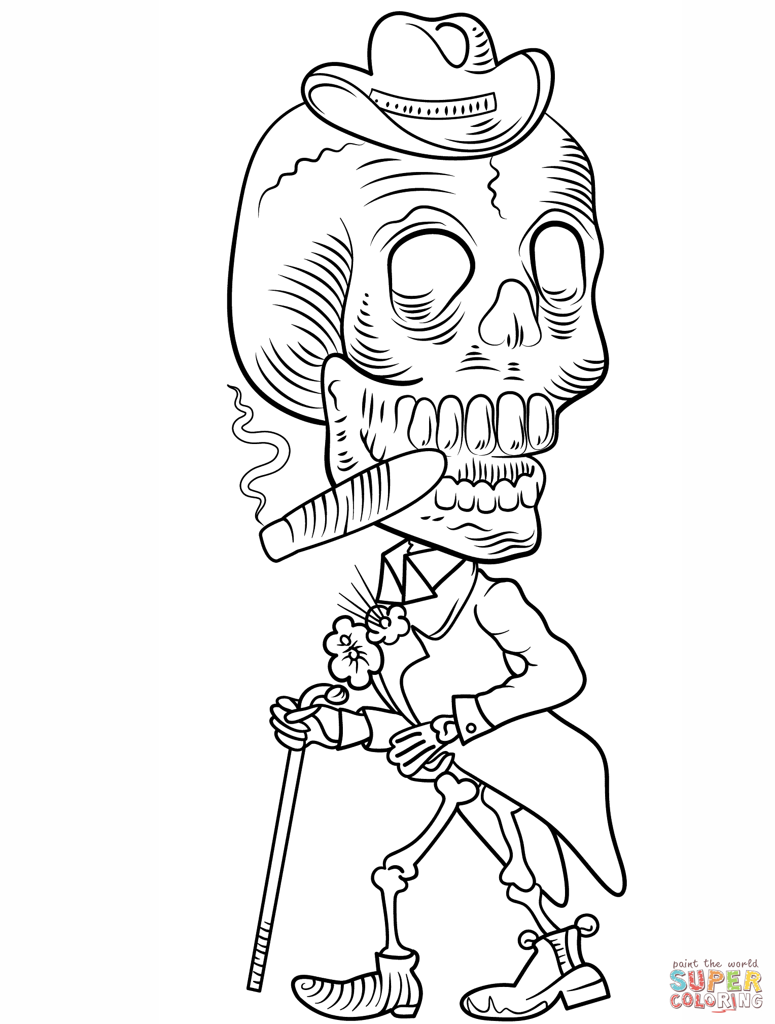 Day Of The Dead Skeleton Coloring Page | Free Printable Coloring Pages - Free Printable Day Of The Dead Coloring Pages