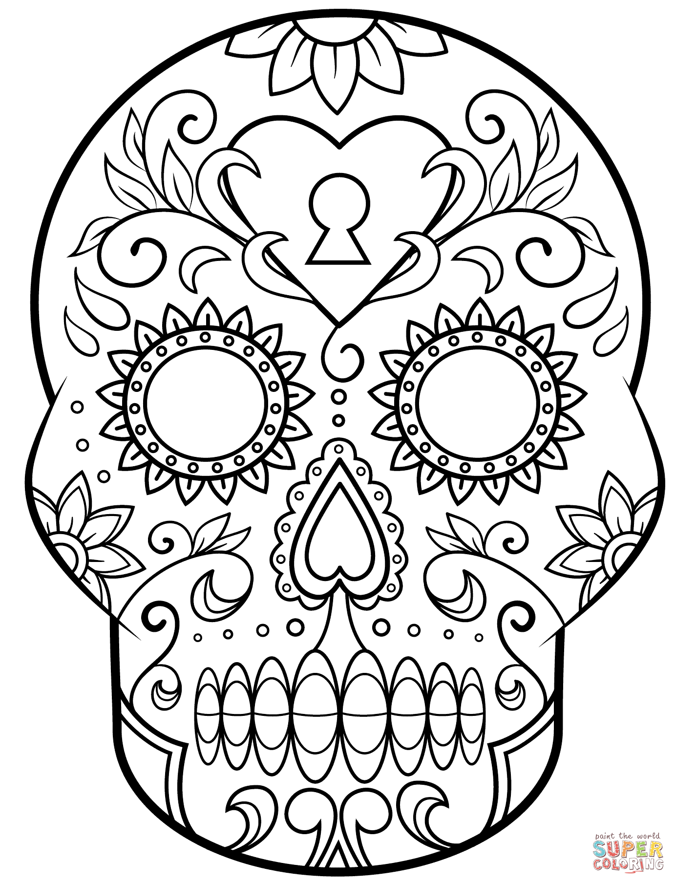 Day Of The Dead Sugar Skull Coloring Page | Free Printable - Free Printable Day Of The Dead Coloring Pages