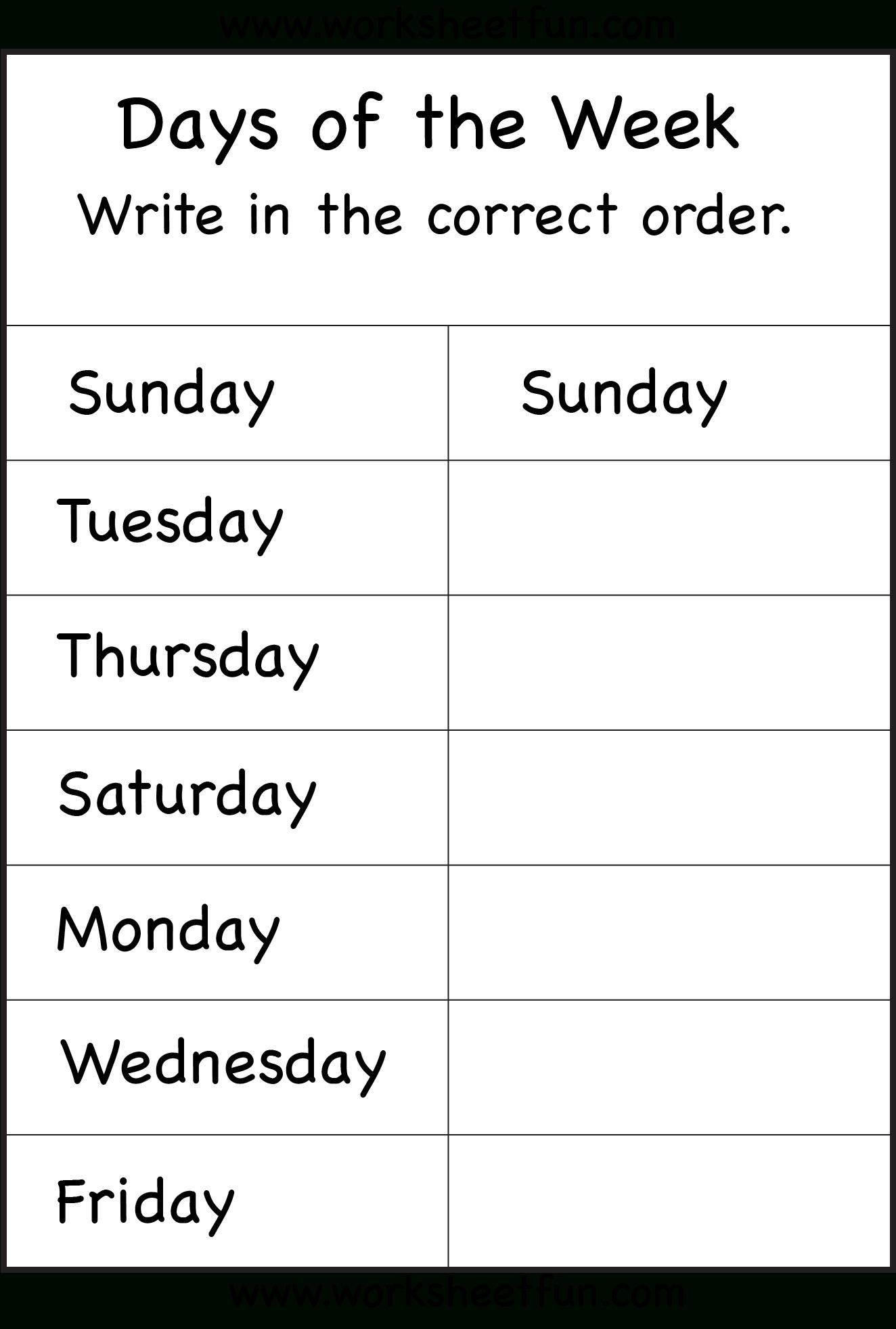 Days Of The Week – 1 Worksheet / Free Printable Worksheets - Free Printable Days Of The Week