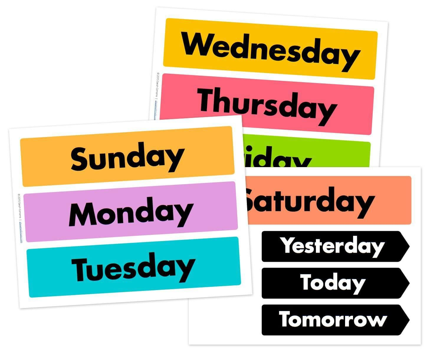 Days Of The Week Printable Free   Free Calendar Cards And Monthly - Free Printable Days Of The Week
