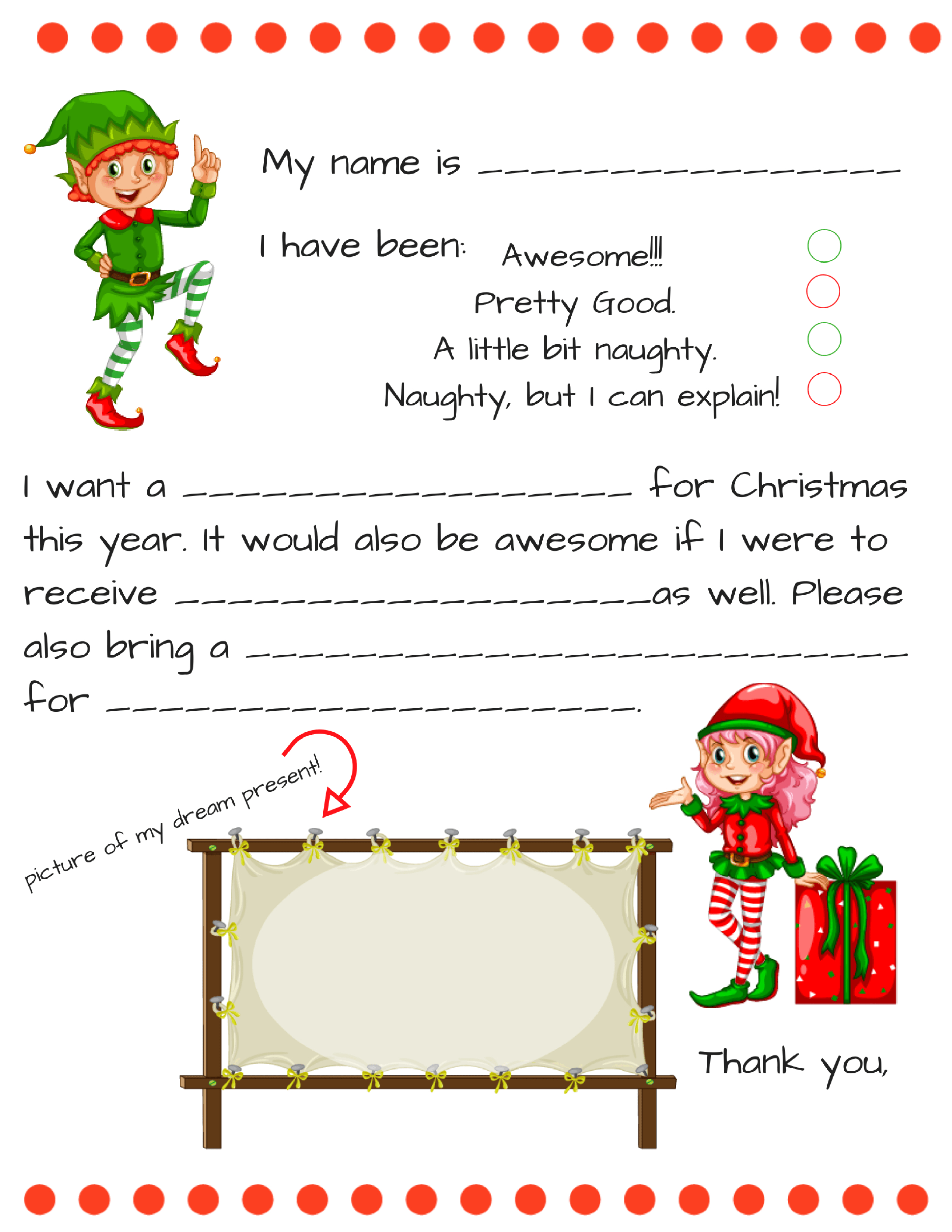 Dear Santa Fill In Letter Template - - Letter To Santa Template Free Printable
