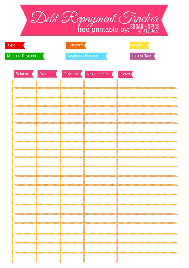 Debt Repayment Printables ⋆ Sugar, Spice And Glitter - Free Printable Debt Payoff Worksheet