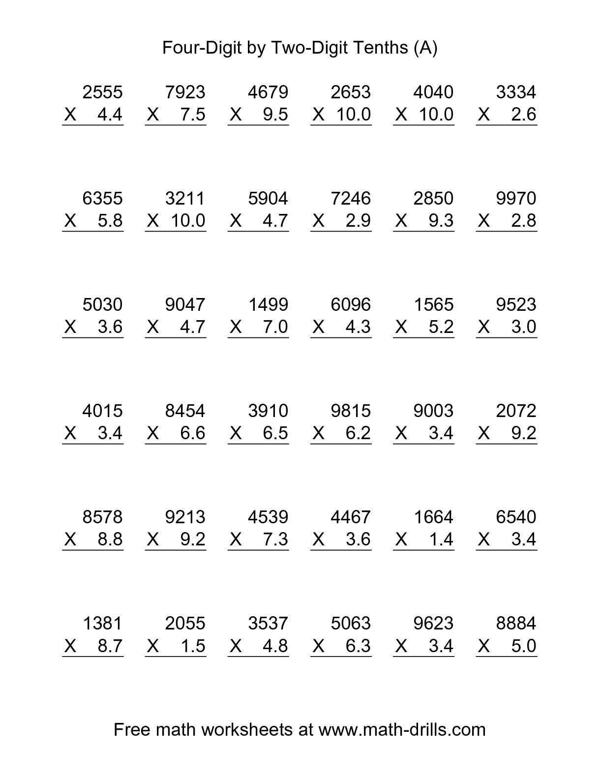 Decimal Multiplication And Division Worksheets Free Printables With - Multiplying Decimals Free Printable Worksheets