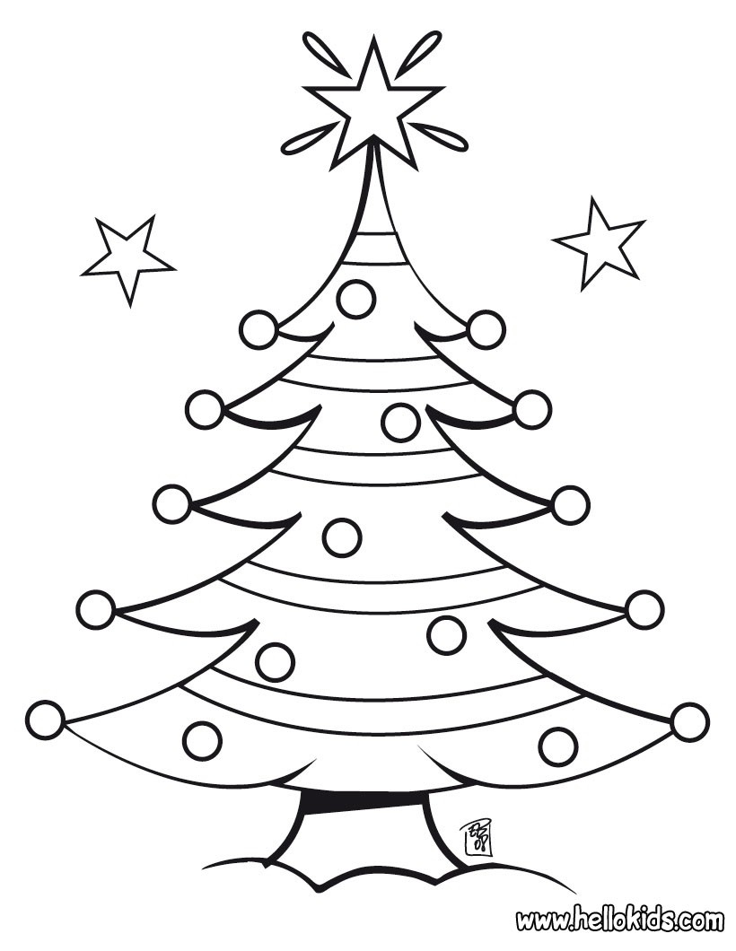 Decorated Christmas Tree Coloring Pages - Hellokids - Free Printable Christmas Tree Images
