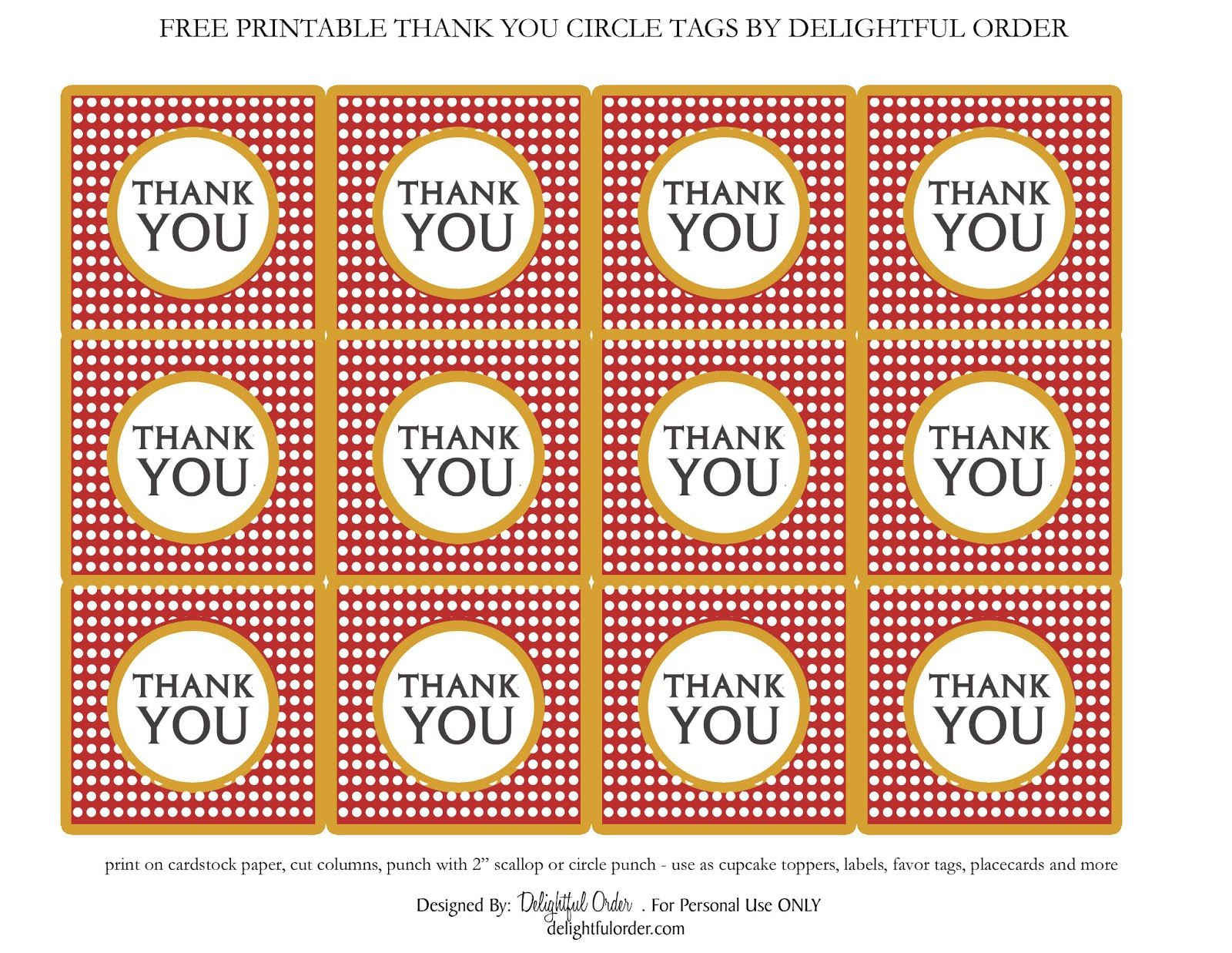 Delightful Order: Free Printable Thank You Circle Tags | Digi - Free Printable Thank You Tags