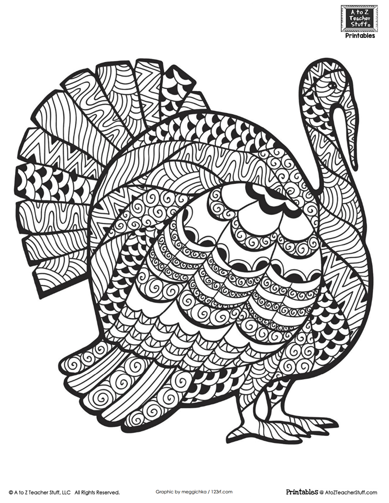 Detailed Turkey Advanced Coloring Page | A To Z Teacher Stuff - Free Printable Turkey Coloring Pages