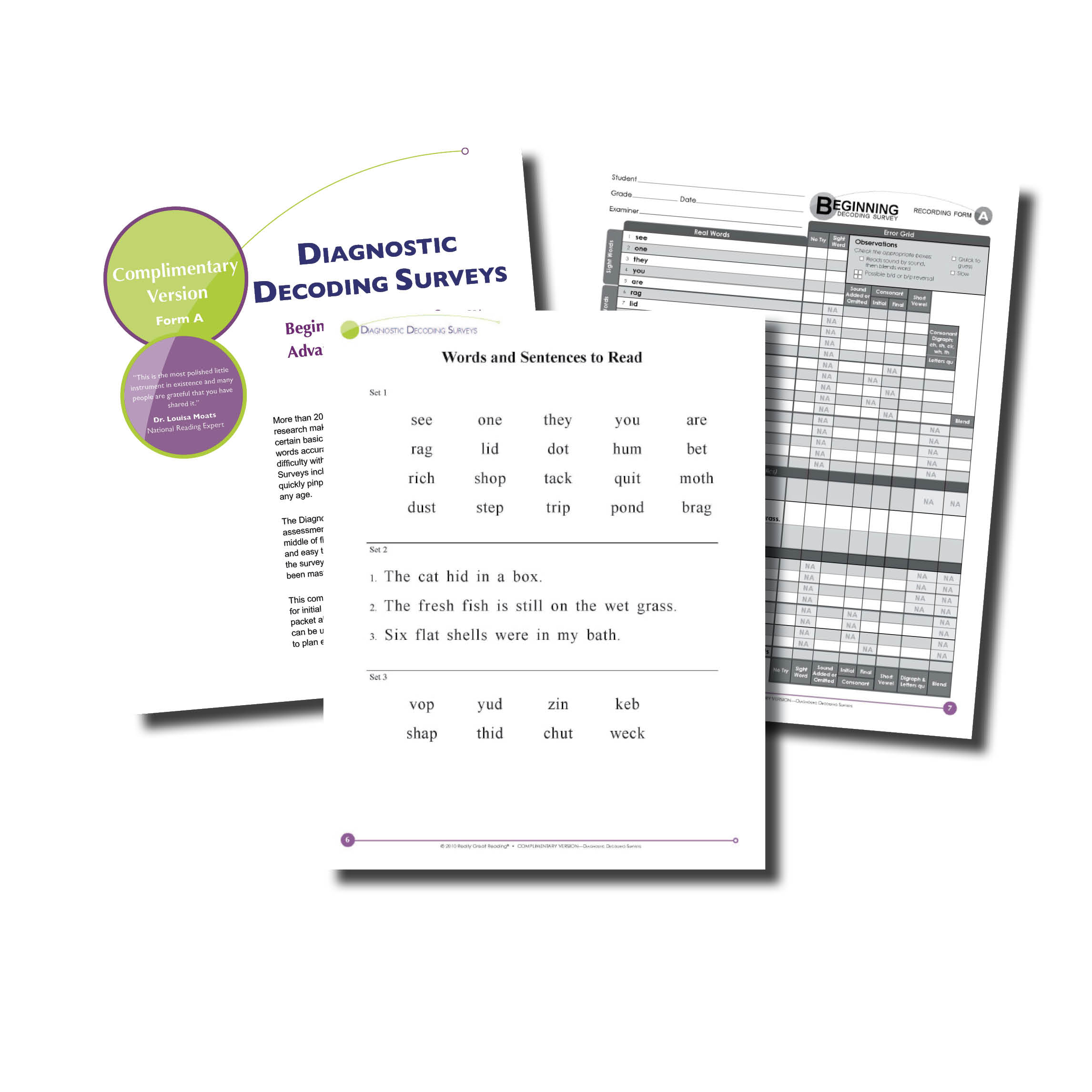 Diagnostic Decoding Surveys - Beginning And Advanced | Really Great - Free Printable Diagnostic Reading Assessments