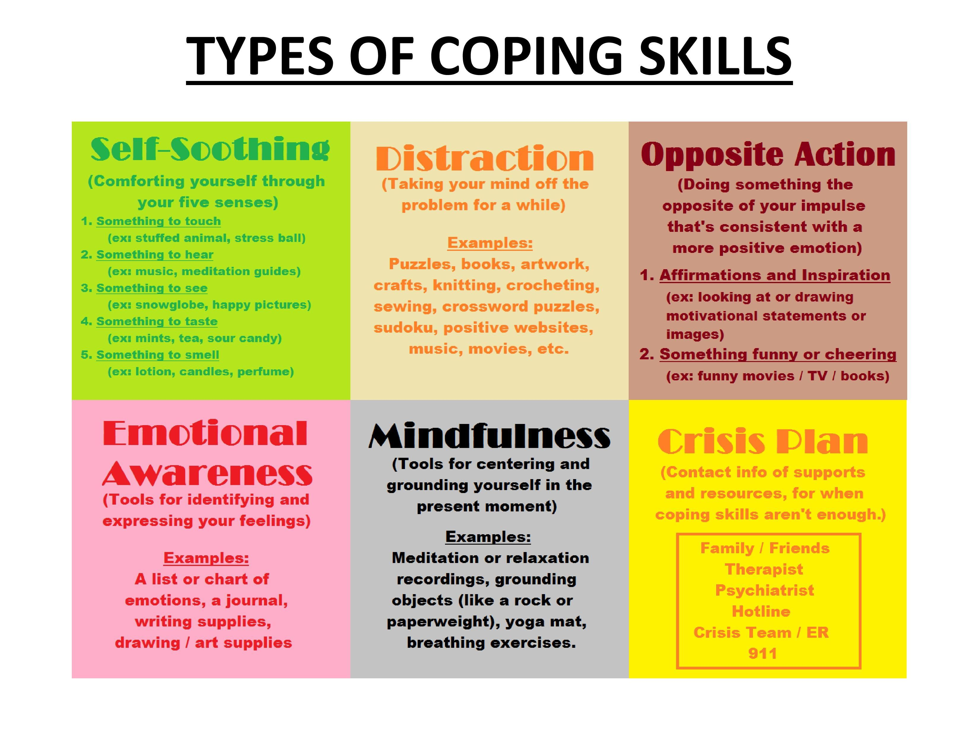 Different Types Of Coping Skills - Self-Soothing, Distraction - Free Printable Coping Skills Worksheets For Adults