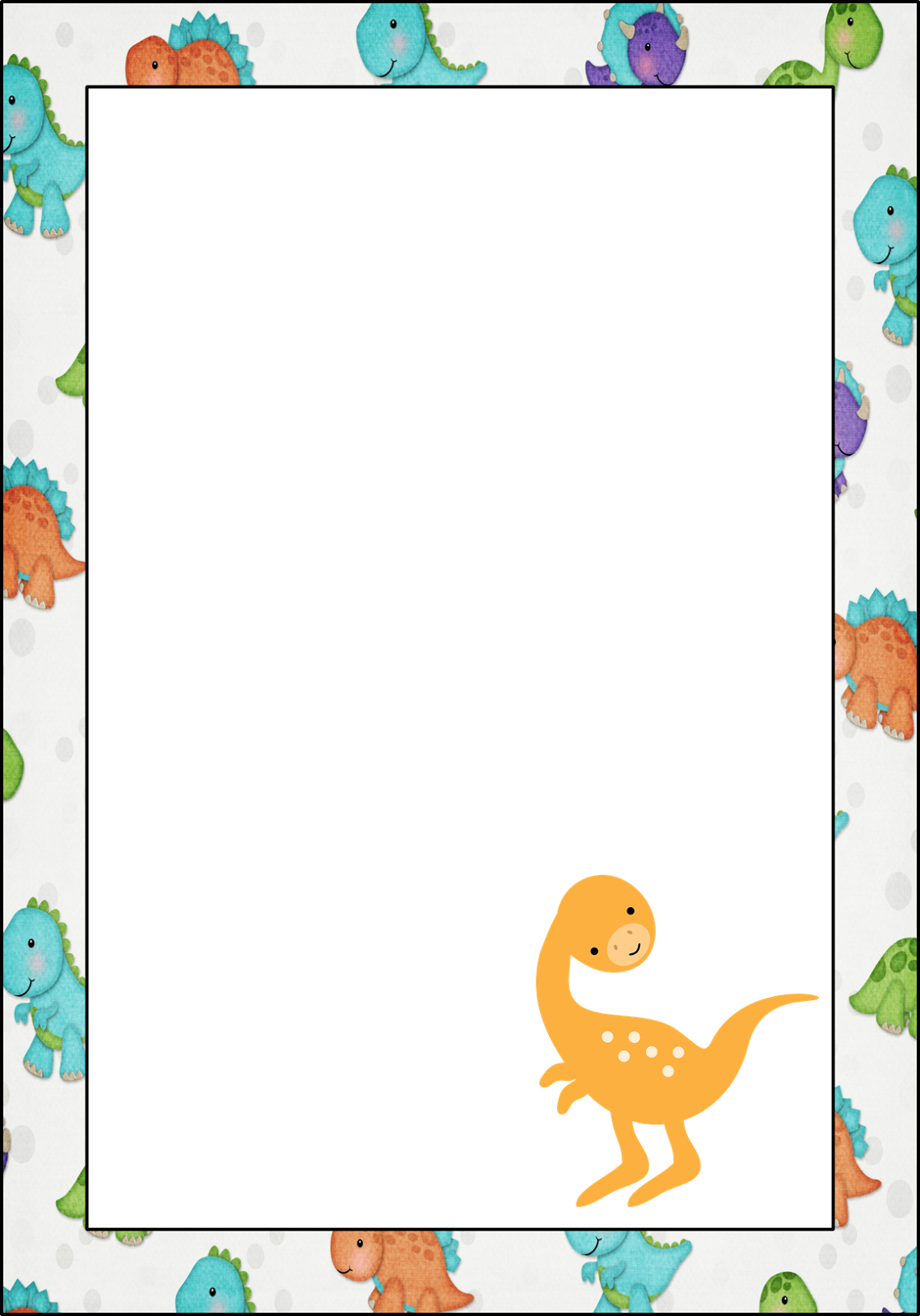 Dinosaur: Free Printable Frames, Invitations, Cards Or Labels - Free Printable Dinosaur Labels