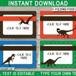Dinosaur Party Food Labels Template   Free Printable Dinosaur Labels
