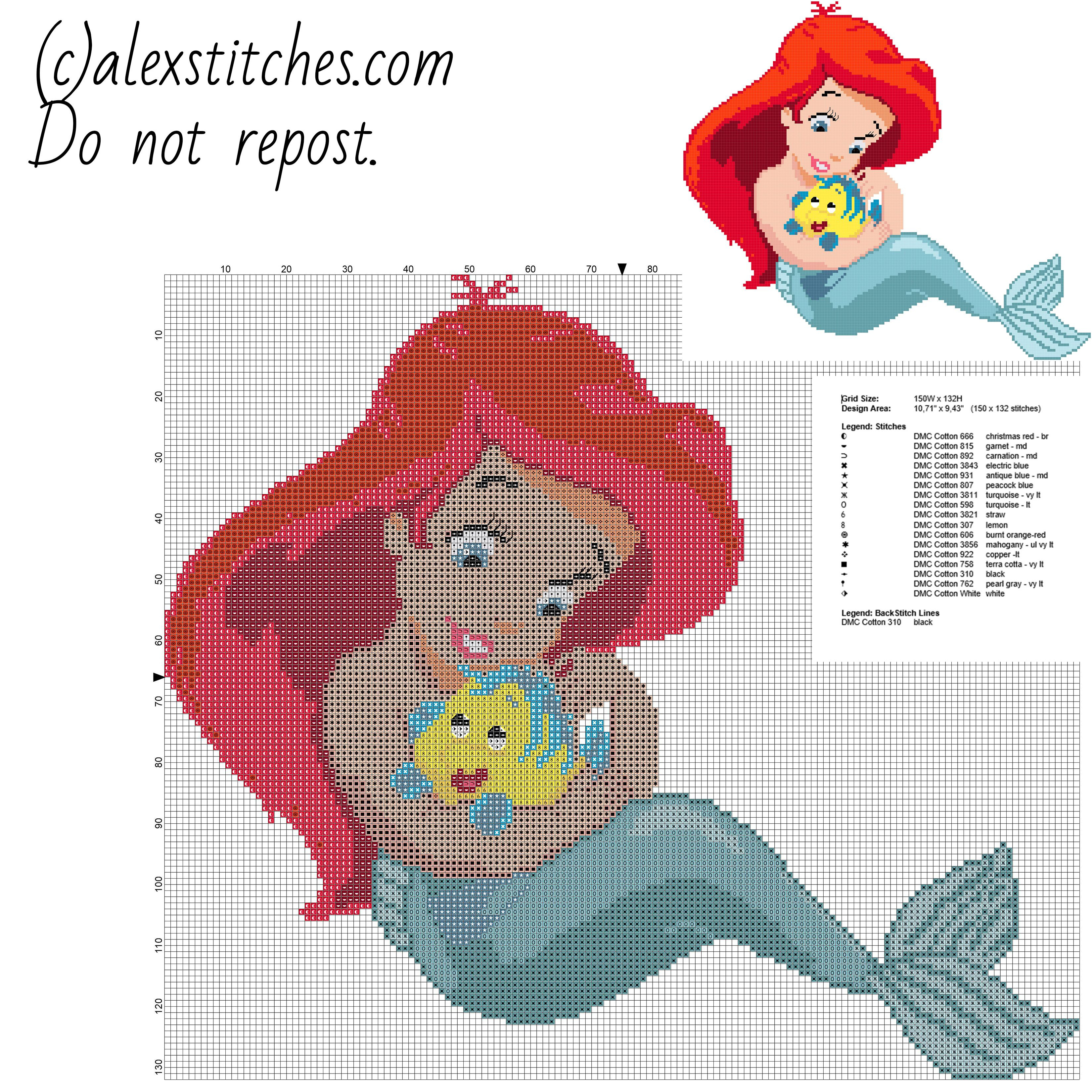 Disney Baby Princess Ariel Free Cross Stitch Pattern Download In - Baby Cross Stitch Patterns Free Printable