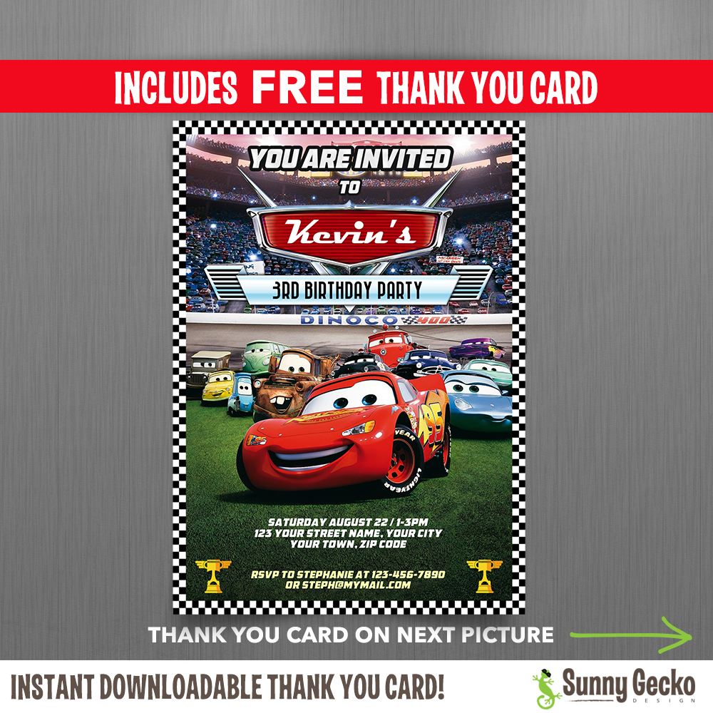 Disney Cars Lightning Mcqueen Birthday Invitation With Free Editable - Free Printable Disney Cars Birthday Party Invitations