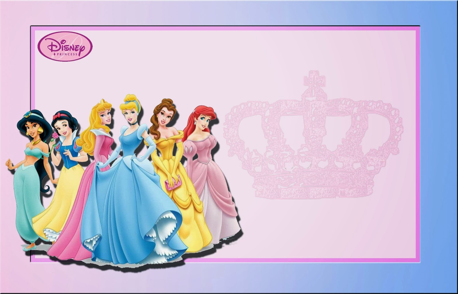Disney Princess: Free Printable Invitations Or Photo Frames.   Oh My - Disney Princess Free Printable Invitations