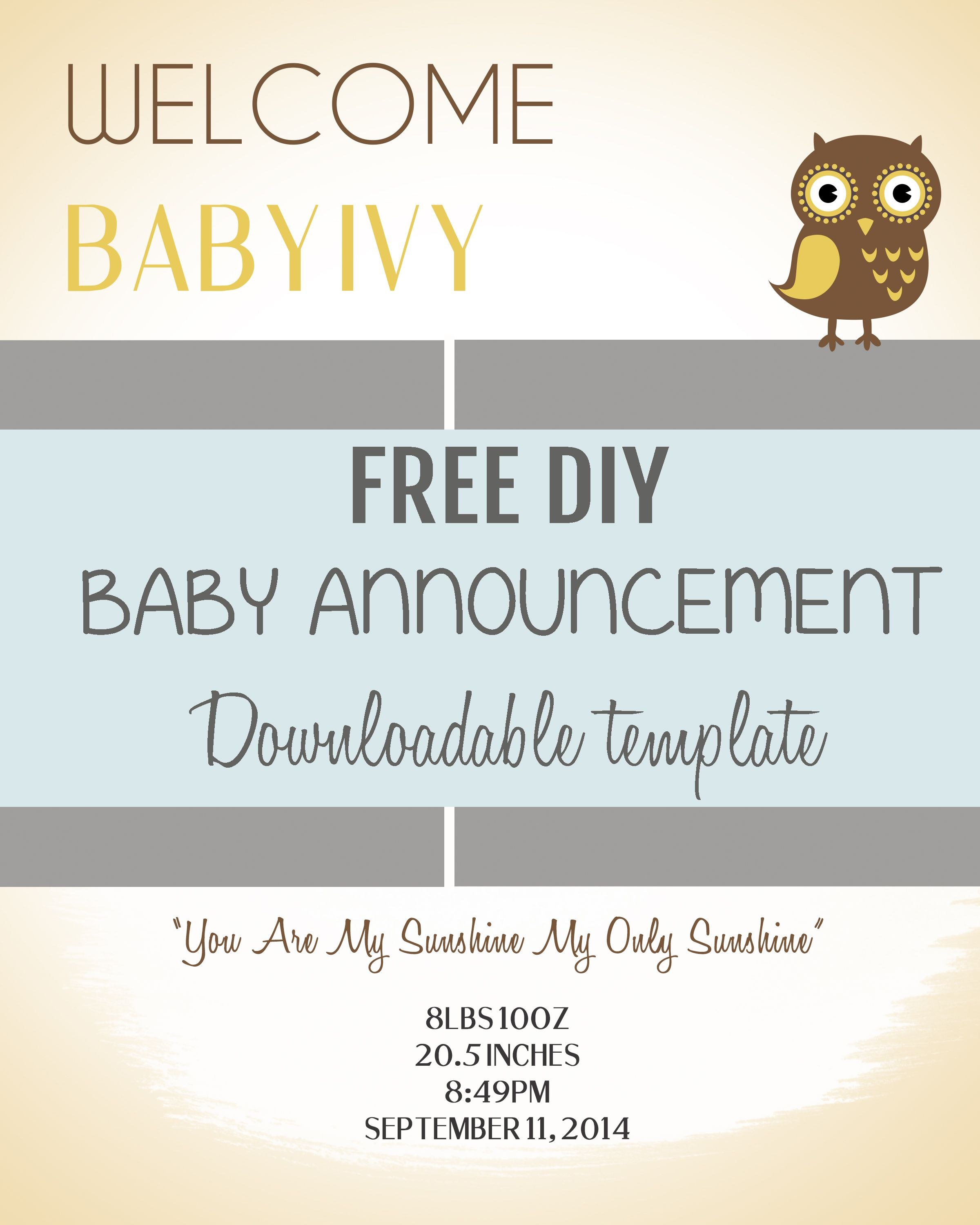 Diy Baby Announcement Template   Pee Wee   Fun Baby Announcement - Free Printable Baby Birth Announcement Cards